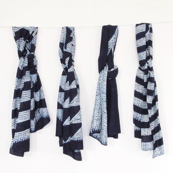 indigo shibori silk scarves bangladesh fairtrade