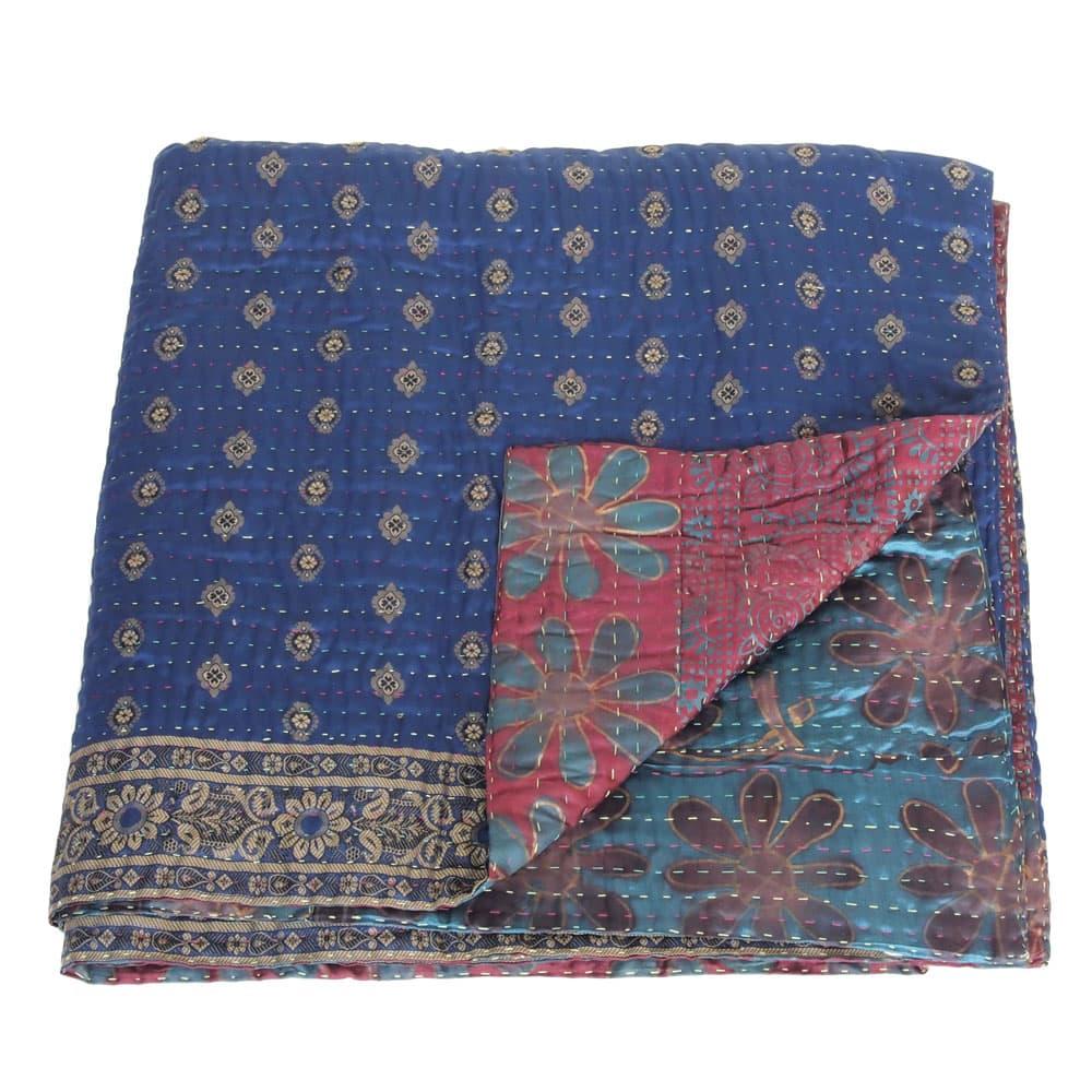 Silk Sari Kantha Blanket Big Sitala Tulsi Crafts