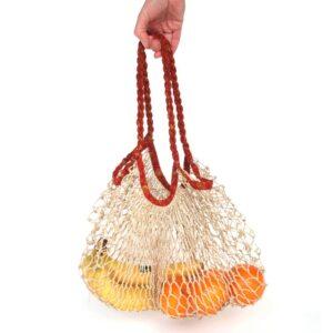 boodschappennetje jute en sari gerecycled