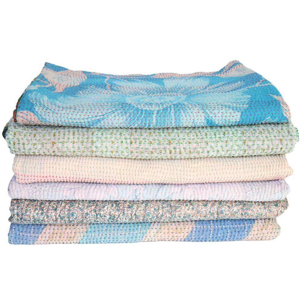 gerecyclede sari kantha dekens plaid sprei