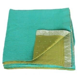 kantha zijden sari deken samudra fair trade india