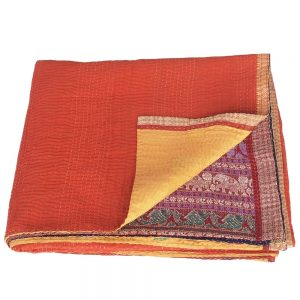 kantha zijden sari deken sikha fair trade india