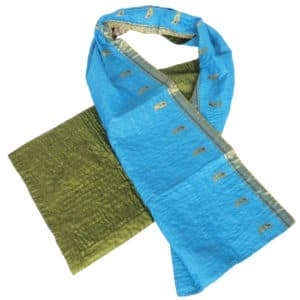 sjaal zijde sari kantha olive fairtrade bangladesh