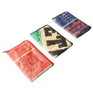 telefoon sleeve gerecyclede cementzak fair trade