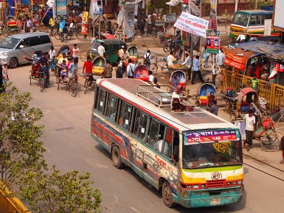 bustling dhaka bangladesh rickshaws