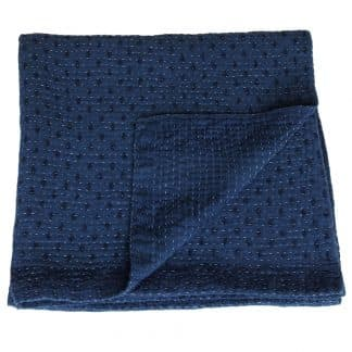 indigo plaid kantha sari blauw