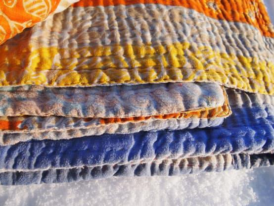 kantha blanket turmeric snow