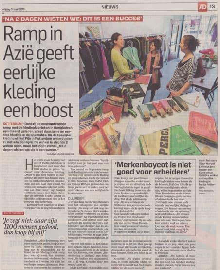 article in newspaper algemeen dagblad eerlijke kleding