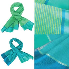 handwoven silk scarves ethical india blue