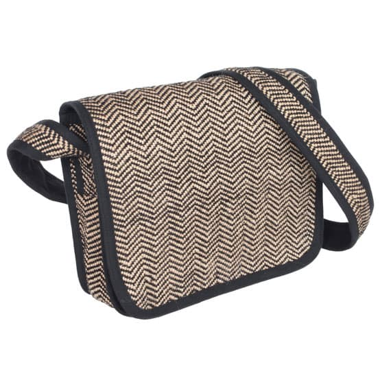 jute shoulder bag black zig zag fair trade bangladesh