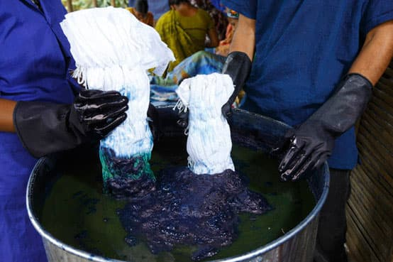 shibori scarf dyeing with indigo