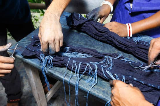 shibori scarf dyeing with indigo fair trade