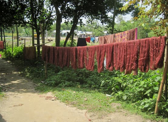 drying dyed jute