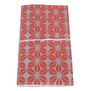 fair trade notebook jute paper red silver screen print fair trade bangladesh