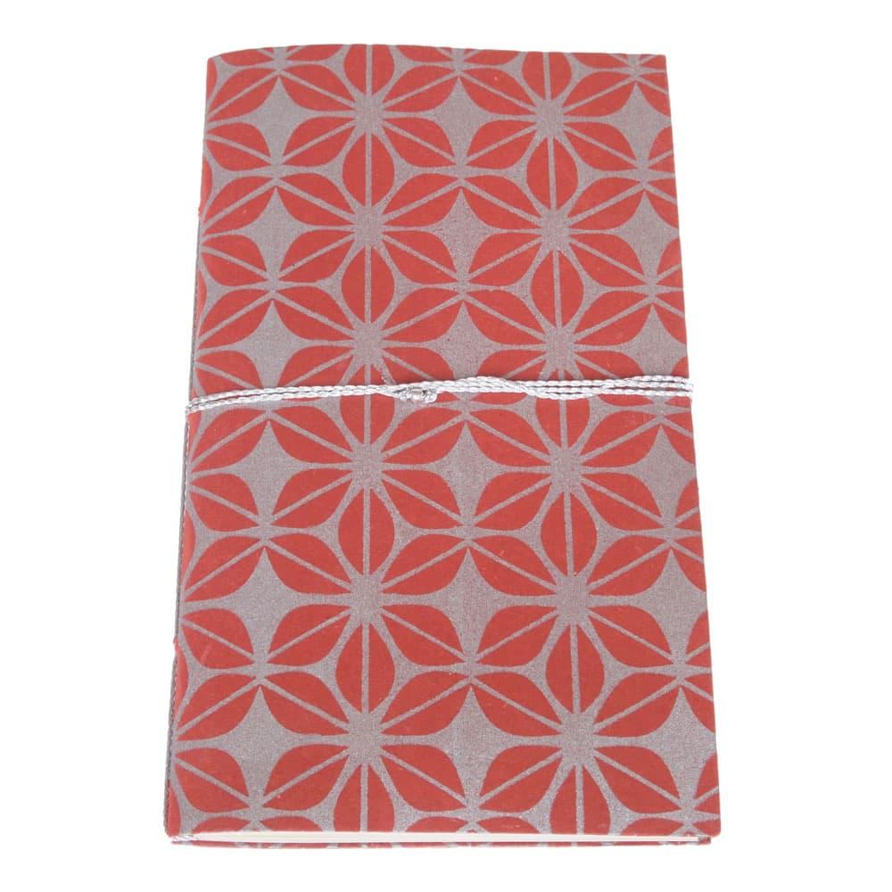 fair trade notebook jute paper red silver screen print fair trade bangladesh