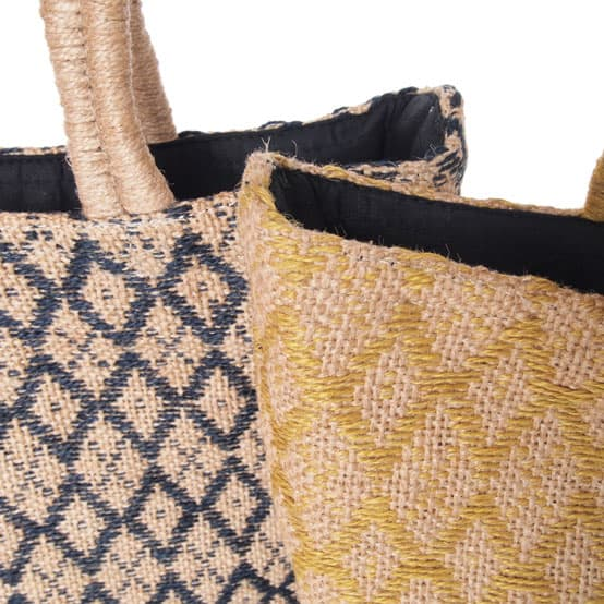 fair trade tassen handgeweven jute indigo en oker