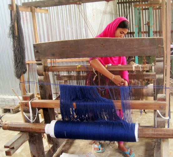 getting the handloom ready for weaving
