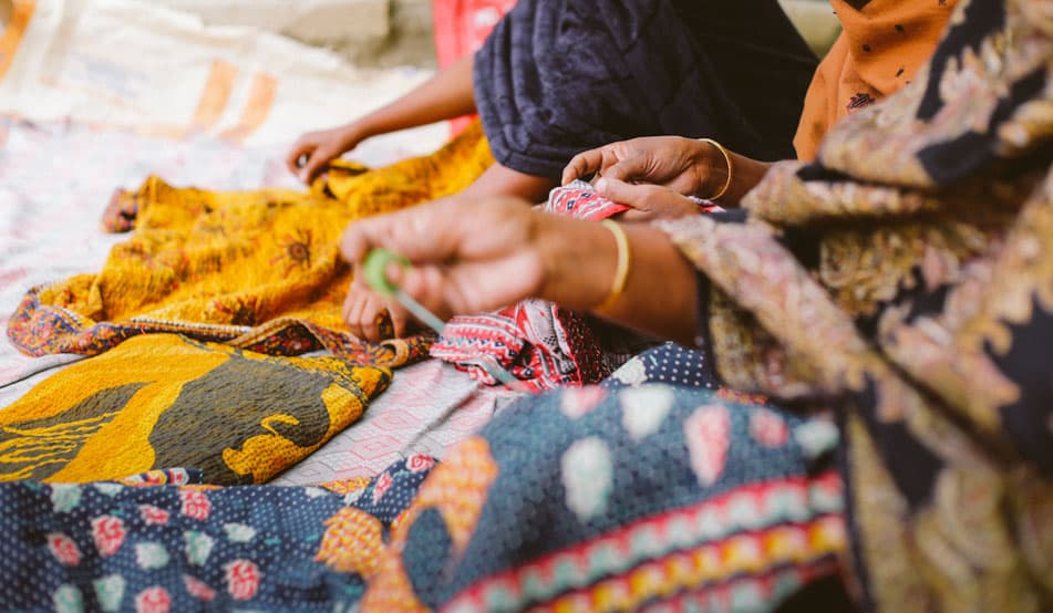 Kantha quilts makers tulsi crafts india fair trade