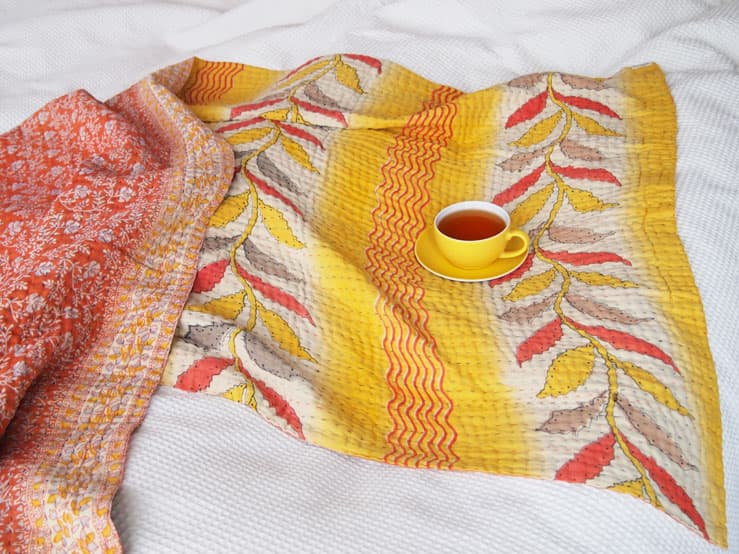 kantha quilt throw bed