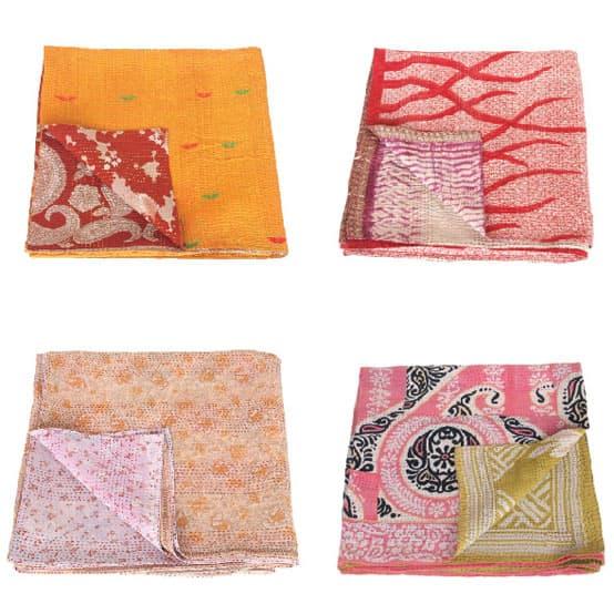 kantha sari dekens plaids tulsi crafts
