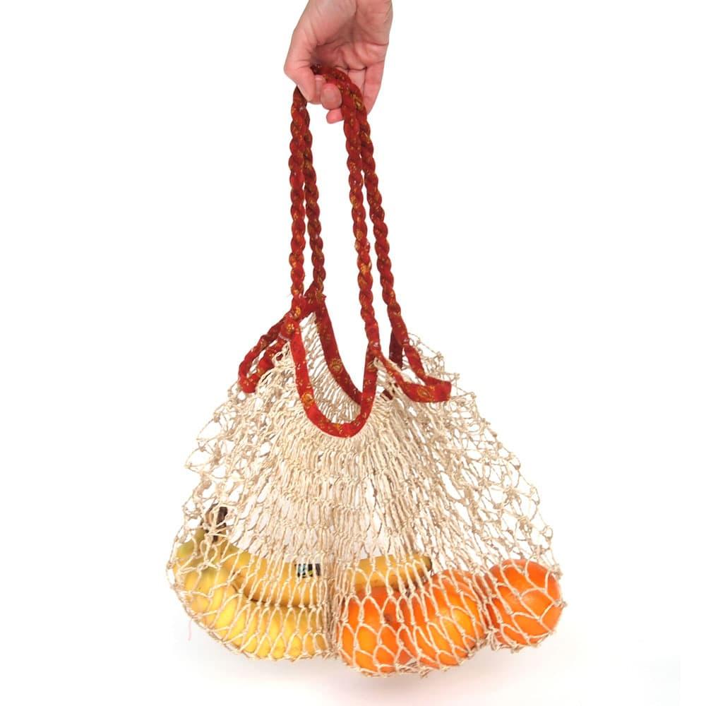 string shopping bag jute and sari upcycled