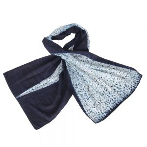 indigo shibori eri silk scarf arrow ethical