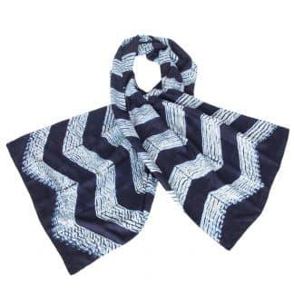 indigo shibori eri silk scarf zigzag chevron