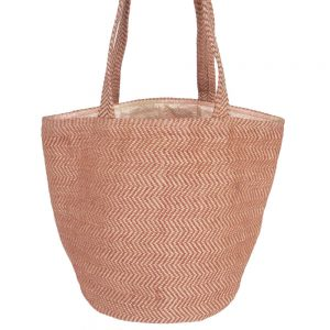 jute shopping bag brown zig zag handmade