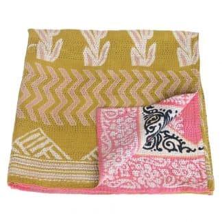 kantha sari blanket cotton narama fair trade india