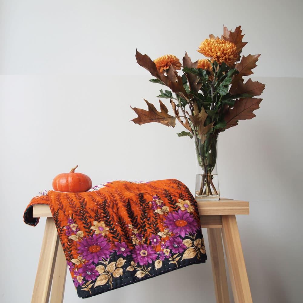 kantha sari deken sprei plaid herfst