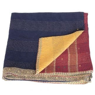 kantha silk cotton sari blanket surya fair trade india