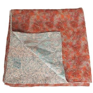 kantha silk sari blanket akasa fair trade india