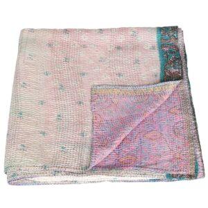 kantha silk sari blanket puspa fair trade india