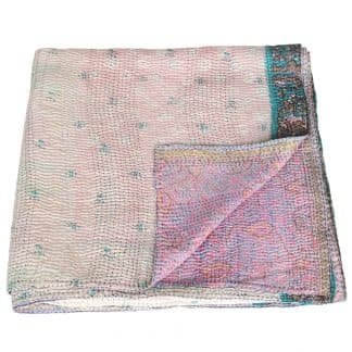 kantha silk sari blanket puspa fair trade india