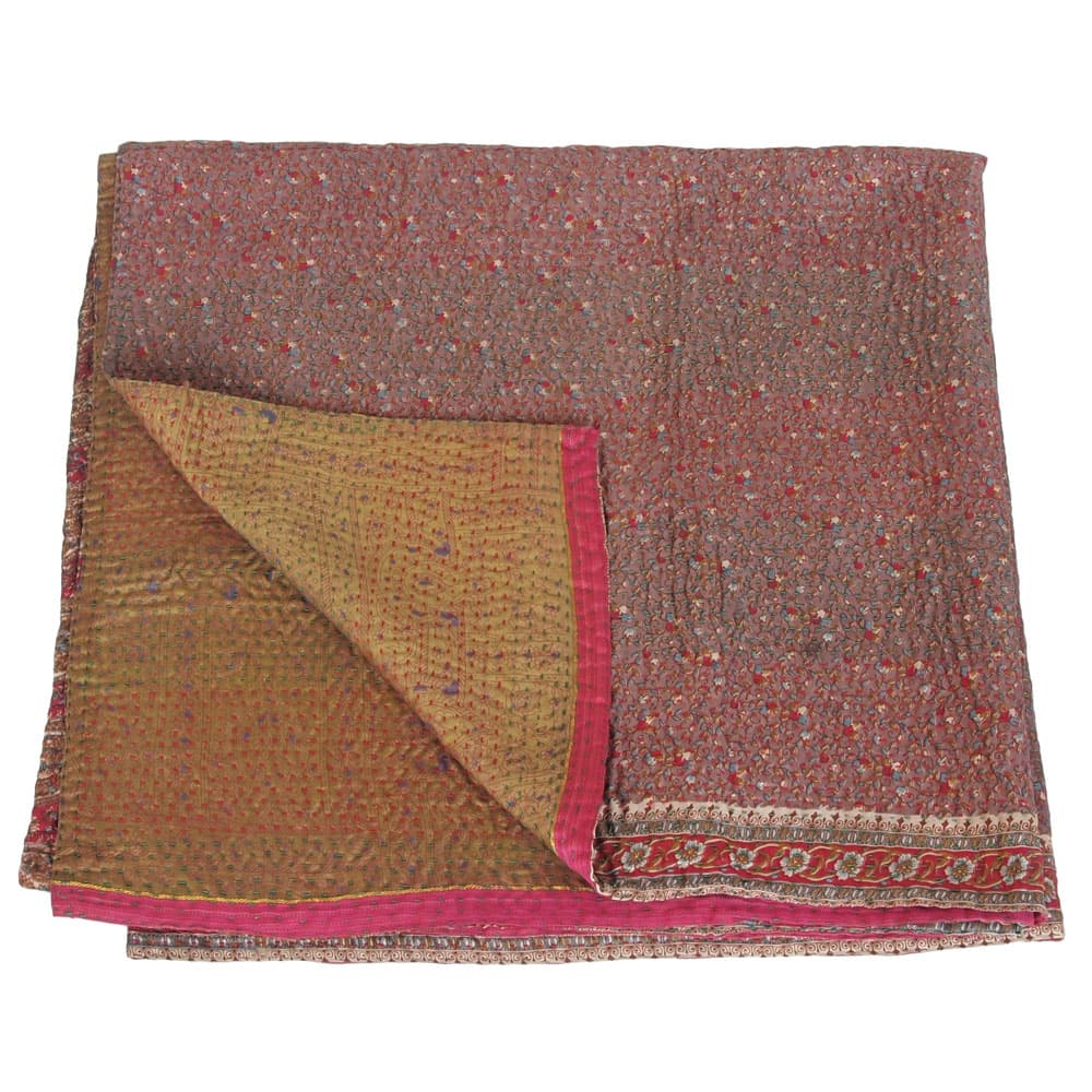 kantha zijden sari deken subarna fair trade india