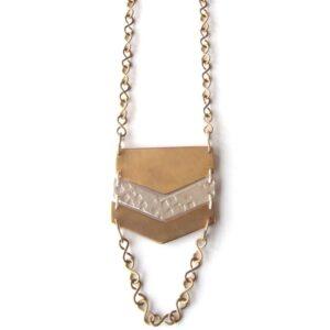 necklace chevron silver brass fair trade