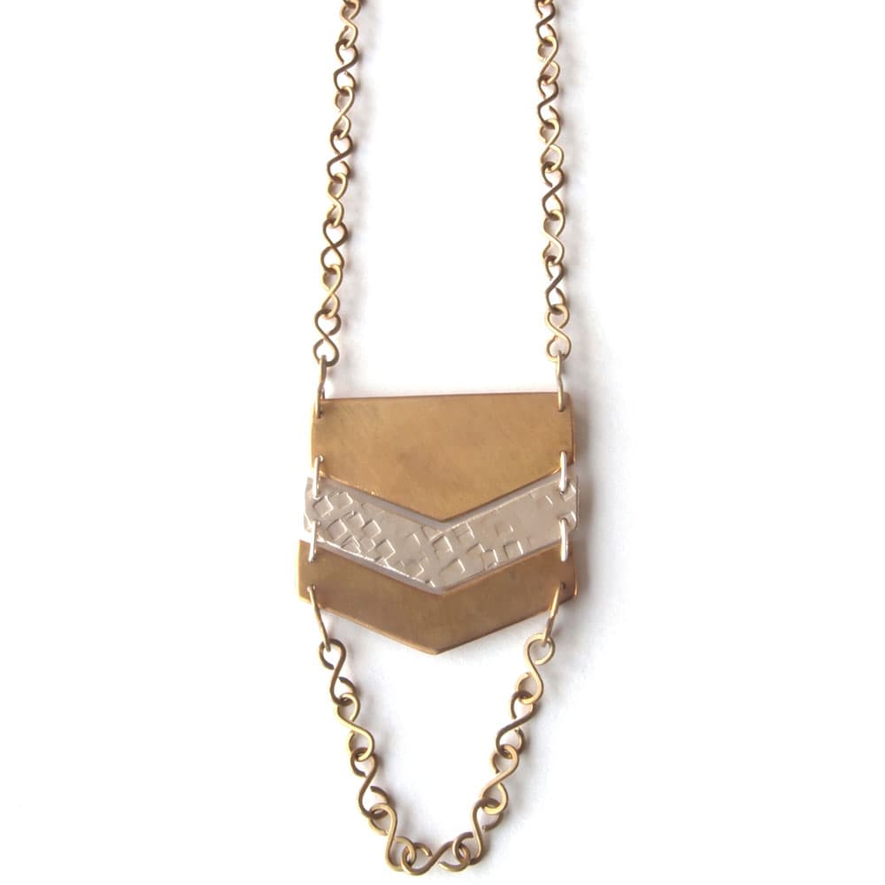 necklace chevron silver brass fair trade