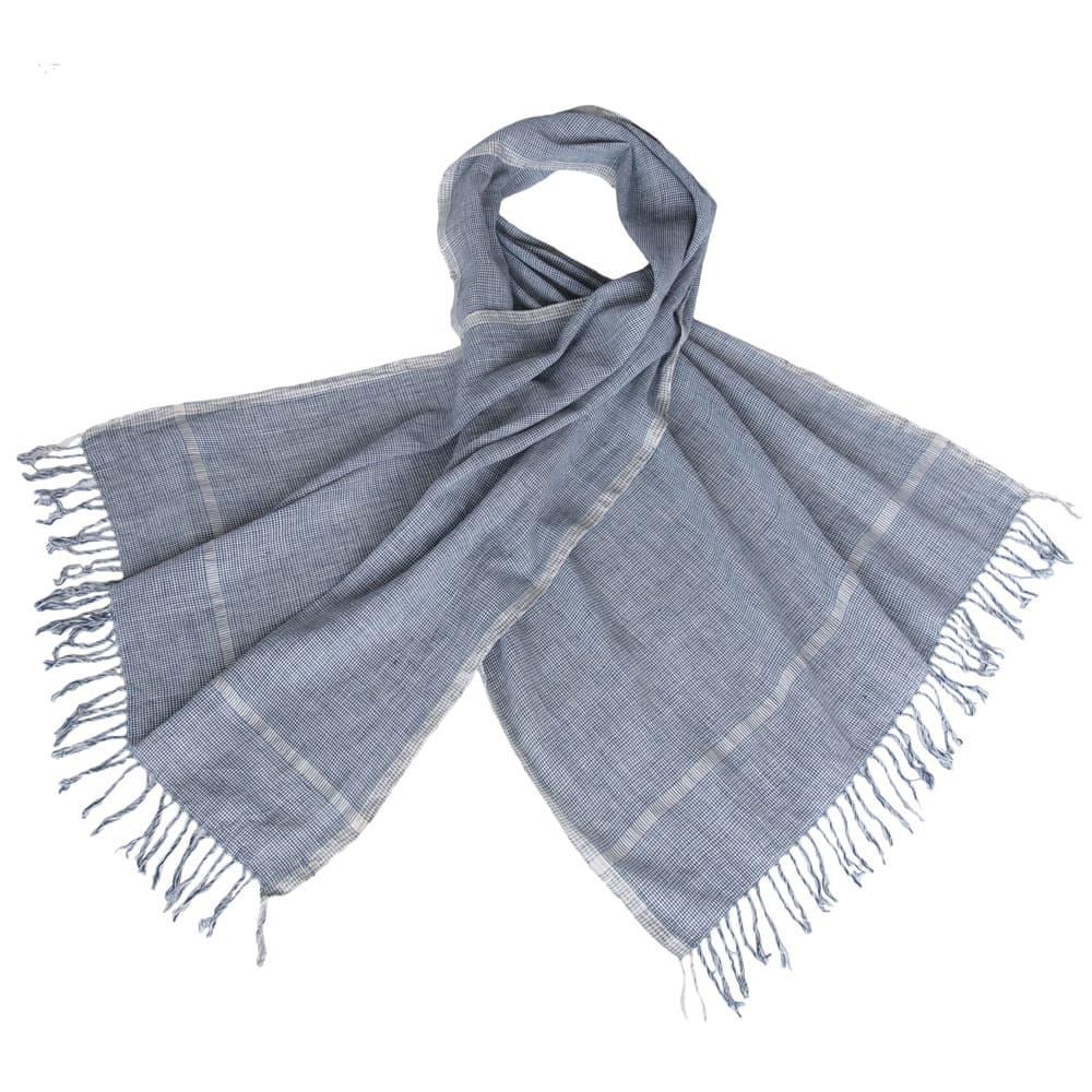 sjaal pied de poule indigo khadi biologisch katoen fair fashion