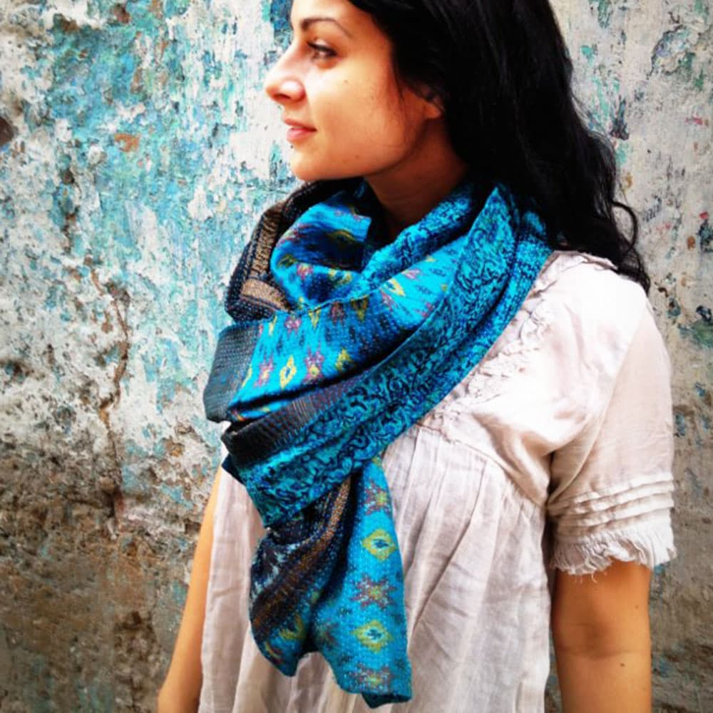 silk scarf kantha sari ethical india