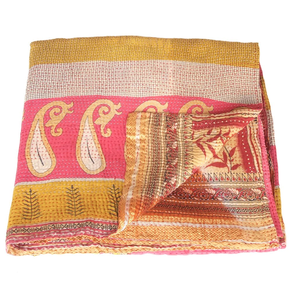 blanket cotton sari kantha paya fair trade india