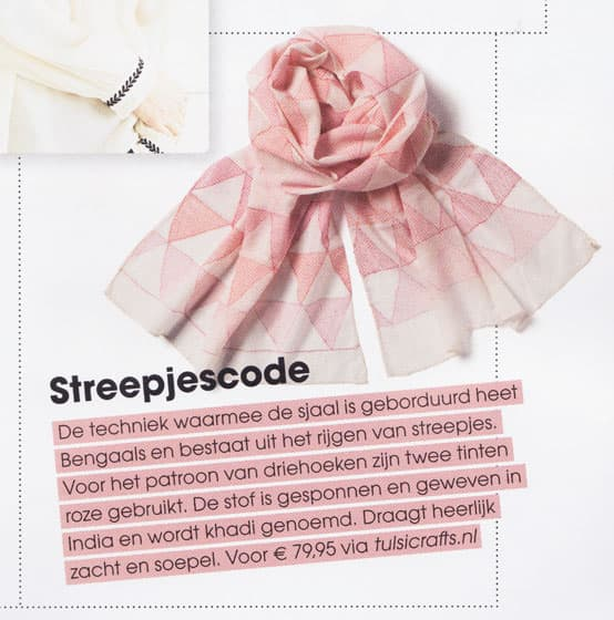 kantha khadi scarf in happinez magazine