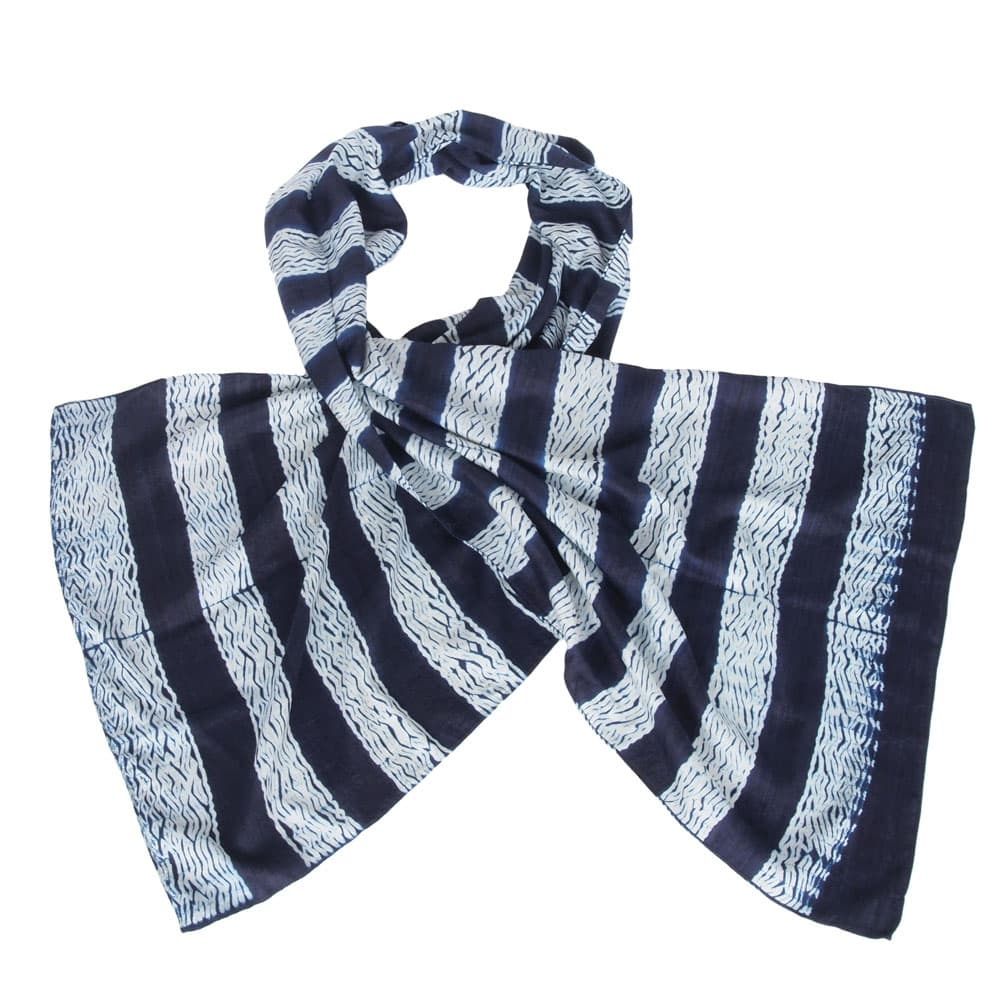 indigo shibori eri silk scarf stripe ethical fashion