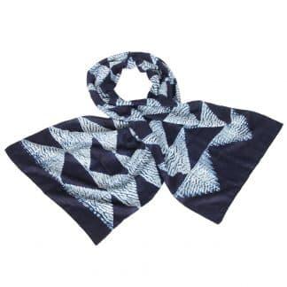 indigo shibori scarf silk triangle ethical