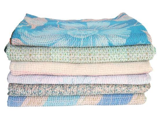 kantha sari dekens plaid sprei blauwjpg