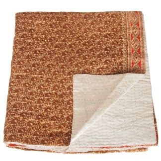kantha silk cotton sari blanket badami fair trade