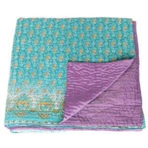kantha silk cotton sari blanket sita fair trade