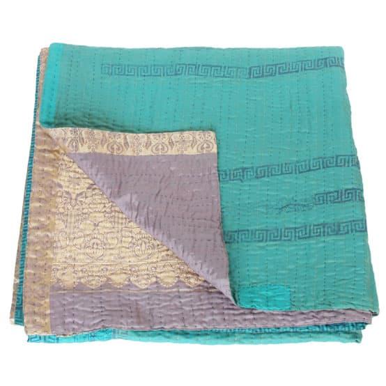 kantha zijden sari deken maya fair trade