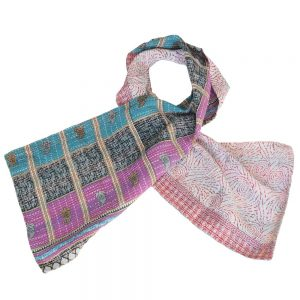 scarf cotton sari kantha jamdani fair trade india