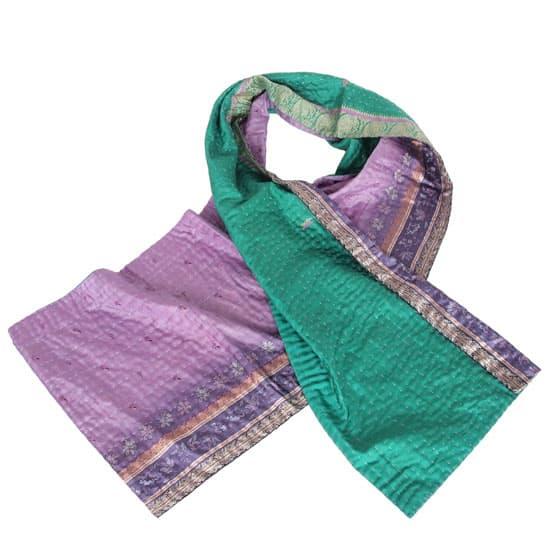 sjaal zijde sari kantha mint fair trade mode