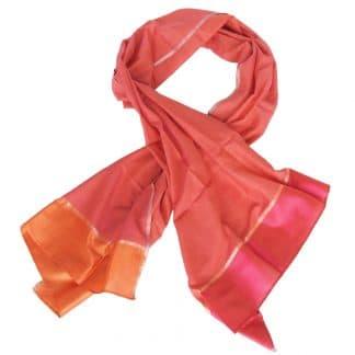 zijden kleurrijke sjaal handgeweven india tulip fairtrade